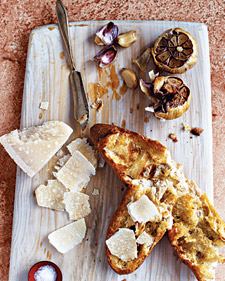 Baguette with Parmesan and Roasted Garlic