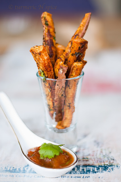 Curried Sweet Potato Fries with Tomato Curry Chutney