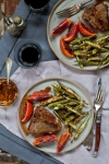 Lamb Chops With Blood Orange Sauce, Roasted Okra With Chili Oil