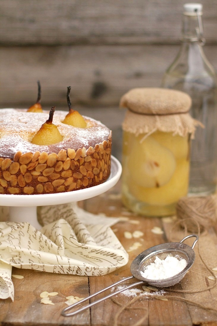 Marzipan Cake with Poached Pears