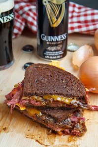 Corned Beef Sandwich with Guinness Caramelized Onions and Grainy Mustard