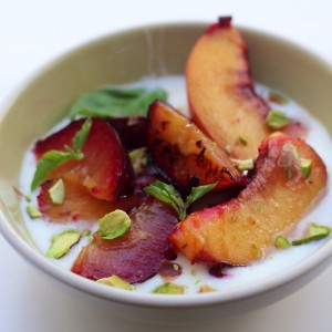 Grilled Fruit with Honey and Yogurt