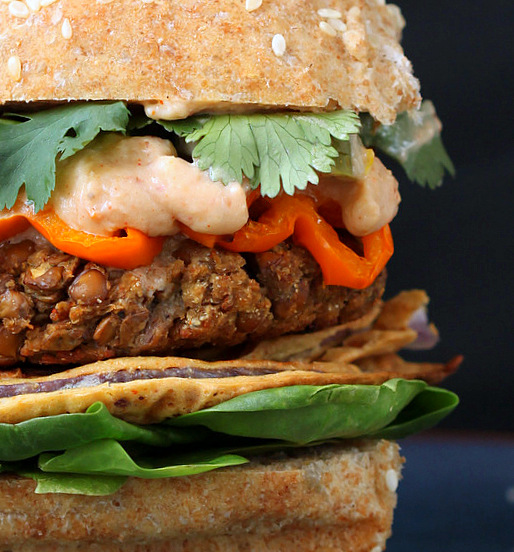 Red Lentil Cauliflower Burger with Chipotle Habanero Mayo, Onion Rings, Roasted peppers