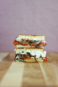 Roasted Red Pepper Portobello Goat Cheese Grilled Cheese
