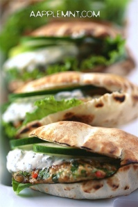 Mini Spiced Chicken Burgers with Mint Greek Yogurt