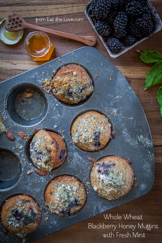 Whole Wheat Blackberry Muffins with Fresh Mint