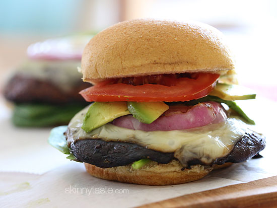 Grilled Portobello Mushroom Burgers (from SkinnyTaste)