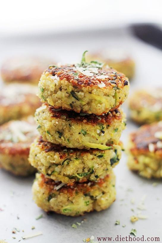 Garlicky and Cheesy Quinoa Zucchini Fritters