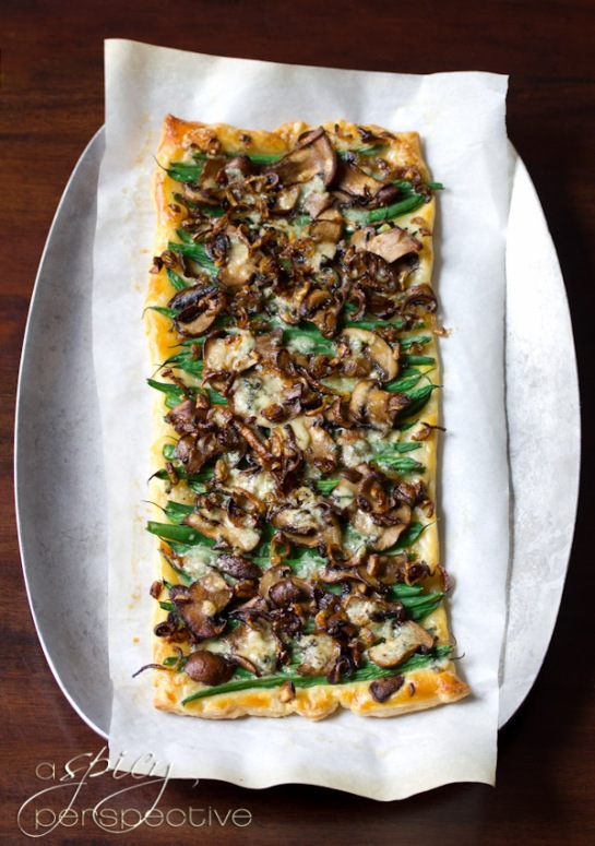 Green Bean Mushroom Tart with Blue Cheese and Crispy Shallots