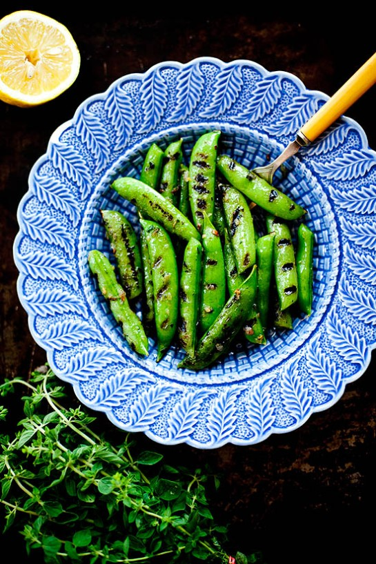 Grilled Sugar Snap Peas with Lemon Oregano Butter