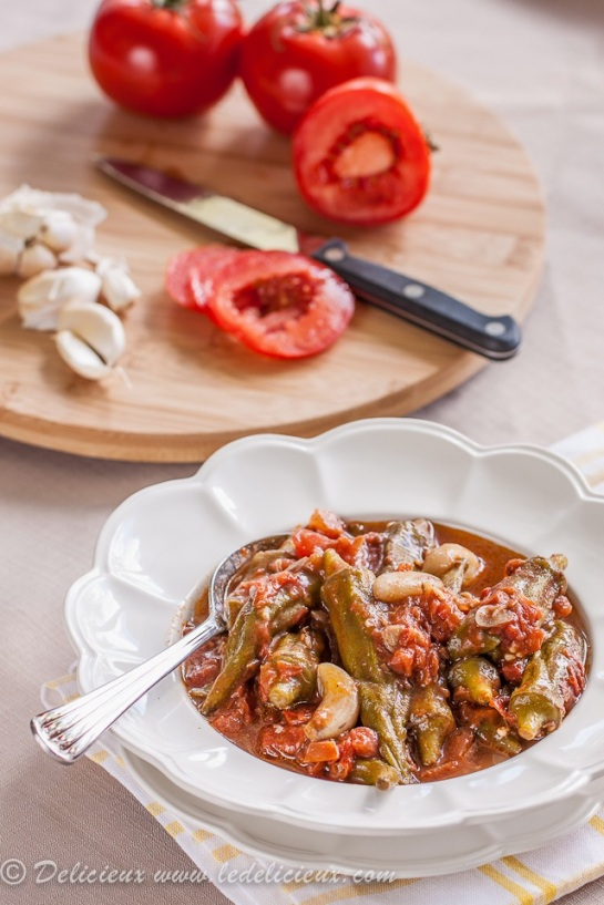 Okra and Sauteed Tomatoes