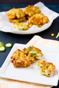 Okra Fritters with Grilled Corn and Goat Cheese