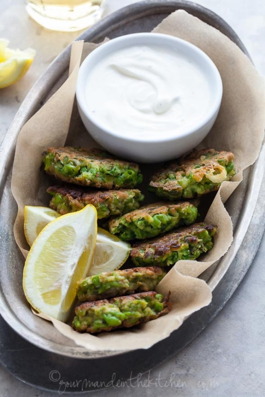 Pea, Mint and Fet Fritters with Yogurt Mint Dipping Sauce